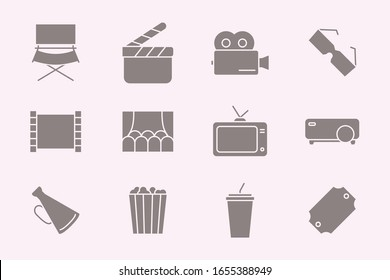 Movie Icons set - Vector silhouettes of film, cinema, video for the site or interface