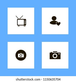 movie icons. user favorite, camera and tv vector icons set