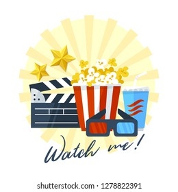 Movie lover print design, vector illustration. Popcorn, soda, 3d glasses, clapper board and golden stars on a white background.