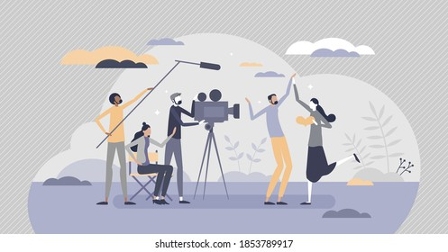 Movie making industry and cinematography filming process tiny person concept. Director, actors, producer and cameraman as creative motion pictures team vector illustration. Hollywood lifestyle scene.