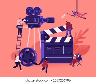 Movie Making Process Concept. Operator Using Camera and Staff with Professional Equipment Recording Film with Actors. Director with Megaphone, Clapperboard Reel Film. Cartoon Flat Vector Illustration