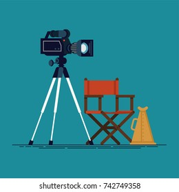 Movie making process design elements. Cool vector film shooting stage equipment camera, director's chair and loud speaker