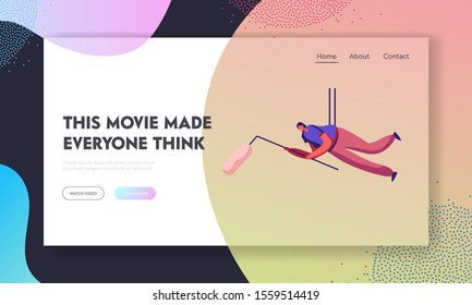 Movie Making Process, Entertainment Industry Staff at Work Website Landing Page. Girl Hanging on Ropes Holding Microphone with Wind Protection Fur Case Web Page Banner. Flat Vector Illustration