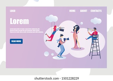 Movie Making Professional Film Crew, Paparazzi and Famous Actress. Entertainment Industry and Film Production Scene with Director, Assistant Superstar and Photographer Cartoon Flat Vector Illustration