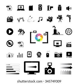 movie and media vector icon set