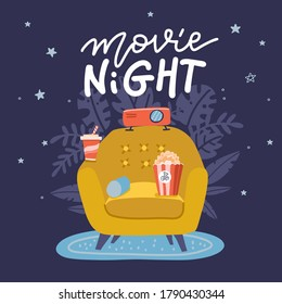 Movie Night banner design. Trendy concept design on home movie watching entertainment with yellow sofa couch and film projector. Ideal for web, graphic and motion design. Flat vector illustration