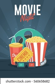 Movie Night. Can be used for flyer, poster, banner, ad, and website background.