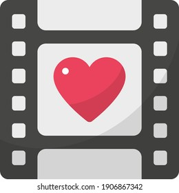 Movie Night Concept, Film with Heart vector color Icon design, Love and romance symbol on white background, Valentines Day Sign,
