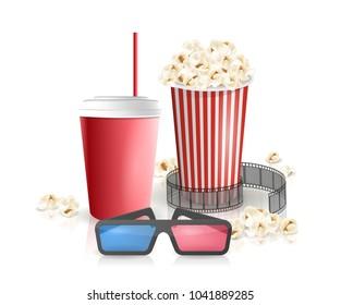 Movie objects. Popcorn, soda takeaway, 3d cinema glasses. Cinema design in realistic style. Vector illustration.