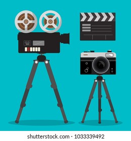 Movie and Photo Film Cameras Set on Tripods. Vector Photography and Movie Devices.