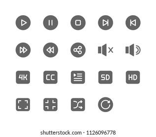 Movie Player Icon Design Vector Symbol Play Pause Stop Next Previous Sound Mute Audio 4k CC Caption Resolution