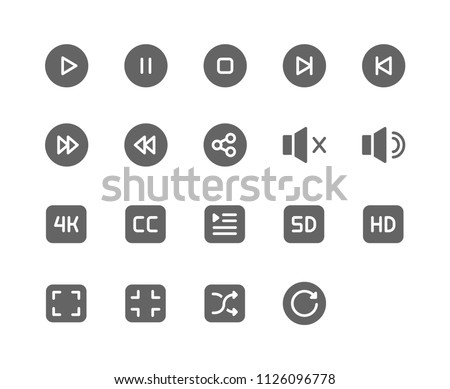 c8d81af183 Movie Player Icon Design Vector Symbol Play Pause Stop Next Previous Sound  Mute Audio 4k CC