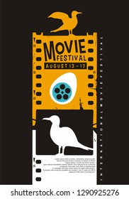 Movie poster festival creative idea with film strip and birds graphics. Art vector for entertainment industry. Cinema flyer on black background.