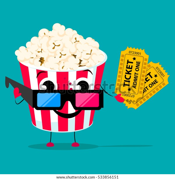 Movie Poster Template Cartoon Style Popcorn Stock Vector Royalty Free 533856151