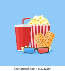 Movie poster template. Popcorn, soda takeaway, 3d cinema glasses and tickets. Cinema design in flat style. Vector illustration.