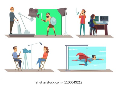 Movie production with actors on set. Making cinema with operator and actress. Vector illustration