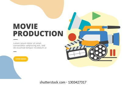 Movie Production flat design banner illustration concept for digital marketing and business promotion