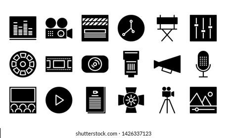 Movie Production glyph icon symbol set