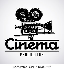 Movie production logo design template. Old fashioned movie film camera black and white vector illustration.
