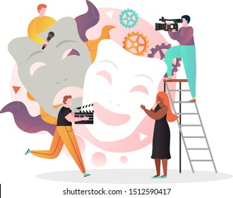 Movie production vector illustration, Huge tragedy and comedy masks and tiny characters in studio shooting film. Cinematography, movie industry, filmmaking concept for web banner, website page etc.