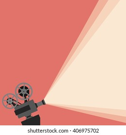 Movie projector background cinema illustration.  Vintage poster vector movie projector background for your design.