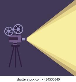 Movie projector background cinema illustration.  Vintage poster vector movie projector background for your design.