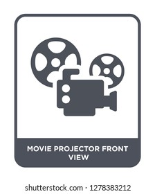 movie projector front view icon vector on white background, movie projector front view trendy filled icons from Cinema collection, movie projector front view vector illustration
