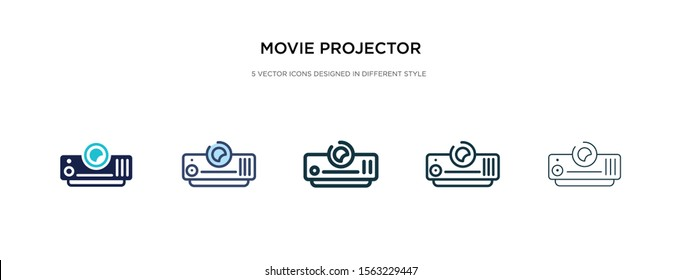 movie projector front view icon in different style vector illustration. two colored and black movie projector front view vector icons designed in filled, outline, line and stroke style can be used