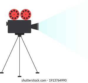 Movie projector, illustration, vector on a white background.