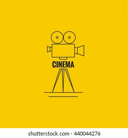 Movie projector vector illustration.  Cinematic camera.