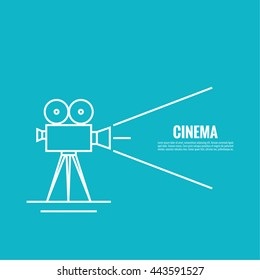 Movie projector vector illustration.  Cinematic Old  camera with reel.