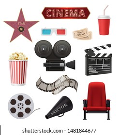 Movie realistic. Cinema objects camera camcorder film tape clapperboard vector collection