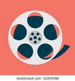 Movie reel creative design. Flat icon. Vector illustration