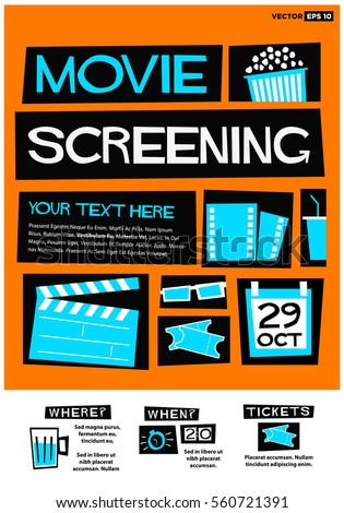 Movie Screening Event Poster Flat Style Stock Vector Royalty Free