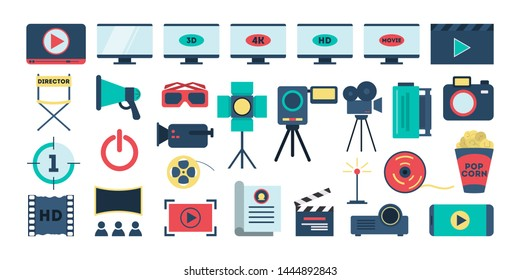 Movie set. Collection of equipment for film shooting. Camera and empty director chair, megaphone and lighting. Isolated vector illustration in cartoon style