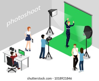 Movie set, photoshoot with staff and actors isometric 3D vector illustration