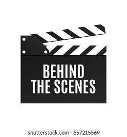 Movie slapstick isolated vector illustration. Behind the scenes inscription on flapper