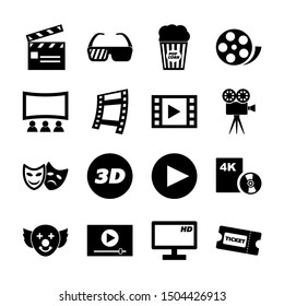 movie solid icons vector design