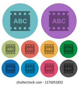 Movie subtitle darker flat icons on color round background