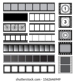 Movie tape. 35mm photo strip film camera frames picture vector collection