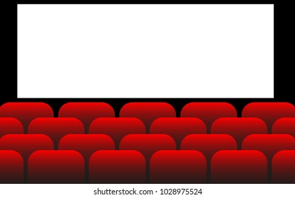 Movie Theater with blank screen, cinema hall, vector illustration