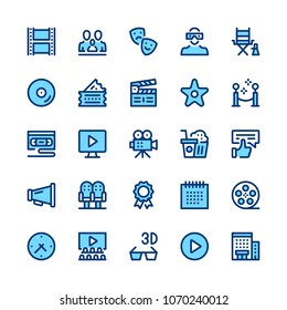 Movie theater, cinema, filmmaking line icons set. Modern graphic design concepts, simple symbols, pictograms collection. Minimal thin line design. Premium quality. Pixel perfect. Vector outline icons