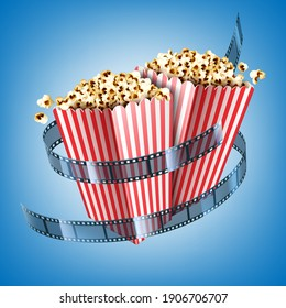 Movie theater flyer with film strip and popcorn in striped paper boxes. Vector realistic illustration of white and red buckets with pop corn and cinema tape on blue background