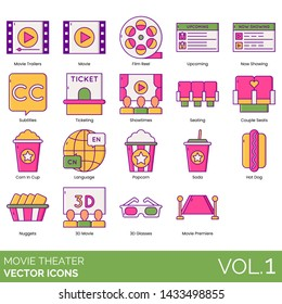 Movie theater icons including film reel, upcoming, now showing, trailer, ticketing, showtime, seating, couple seats, subtitle, language, popcorn, soda, hot dog, corn, nuggets, 3D glasses, premiere.