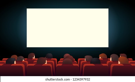Movie theater interior. Cinema audience crowd watching film sitting in rows of red comfortable chairs looking at big lit screen. Flat style cartoon vector isolated illustration
