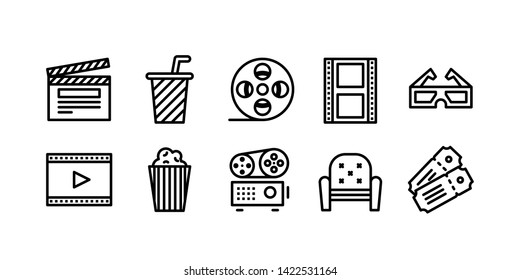 Movie Theater Line Icon Set