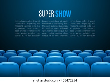 Movie theater with row of blue seats. Premiere event template. Super cinema screen design. Presentation scene concept with place for text.