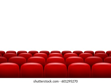 Movie theater with row of red seats isolated. Premiere event template. Super Show design. Presentation concept with place for text.