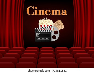 Movie theater with row of red seats popcorn and tickets. Premiere event template. Super Show design.