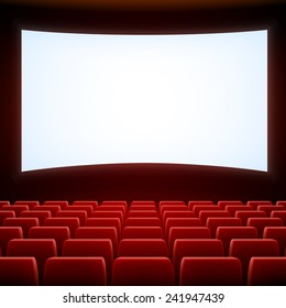 A movie theater stage with red seats, EPS 10 contains transparency and mesh.